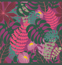 Tropical plants seamless pattern vector