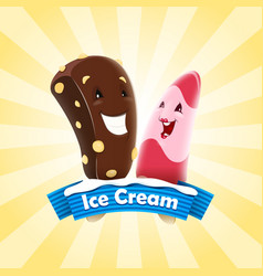 Two ice cream cartoon characters vector
