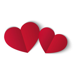 two red papper hearts isolated on white background vector image