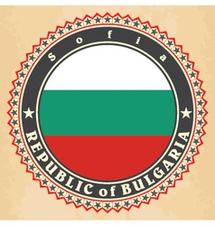 Vintage label cards of Bulgaria flag vector
