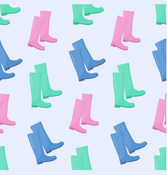 wellington rain boots seamless pattern vector image