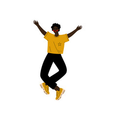 Young african american man happily jumping vector