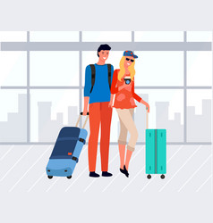 young couple tourists with luggage vector image