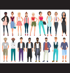 young stylish fashion people characters set vector image