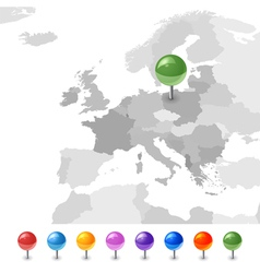 European Union map with pointers vector image