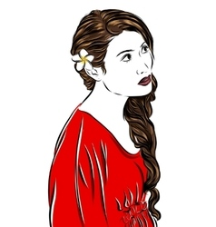 fashion sketch girl in red vector image vector image