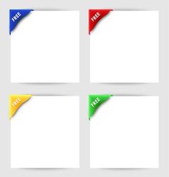 Free clip corner on white paper vector image