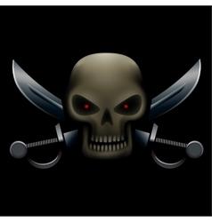 Skull with sabers in dark vector