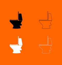 Toilet bowl black and white set icon vector