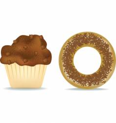 muffin and donut vector image vector image