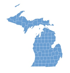 State map of Michigan by counties vector image vector image