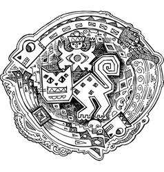 Feline maya style drawing vector