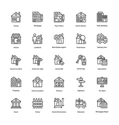 real estate line icons set 1 vector image vector image