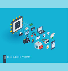 technology integrated 3d web icons growth and vector image vector image