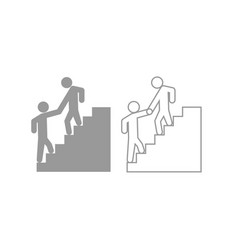 man helping climb other man icon grey set vector image