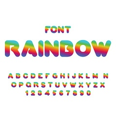 Rainbow font Rounded ABC Multicolored letters vector image