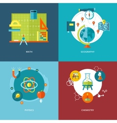 Set of flat design concepts school subjects icons vector image vector image