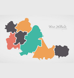 west midlands england map with states and modern vector image