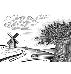 Wheat fields landscape black and white vector image