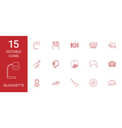 15 silhouette icons vector