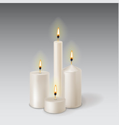 3d set realistic paraffin candles isolated on vector image