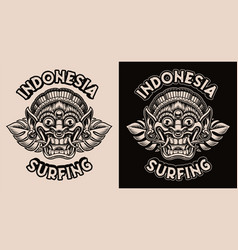 a black and white with a traditional indonesian vector image