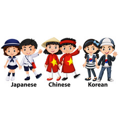asian children from different countries vector image