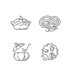 autumn dishes recipes linear icons set vector image