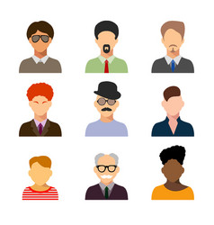 avatars business man flat icons set isolated on vector image
