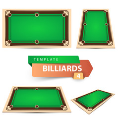 billiard game template four items vector image