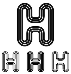Black letter h logo design set vector image