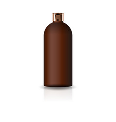 blank brown cosmetic round bottle with cap lid vector image