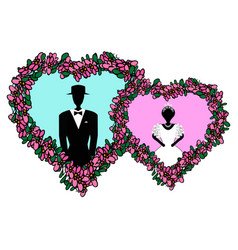 bride and groom in pink blue heart flower heart vector image