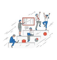 business people on career growth stairway vector image