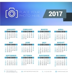 Calendar for 2017 year design stationery vector
