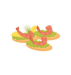 Canape with shrimp lemon and lettuce banquet vector