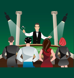 Casino and roulette with men women and croupier vector