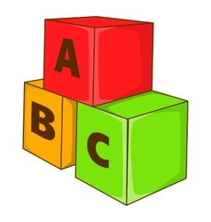 Children cubes with letters icon cartoon style vector image