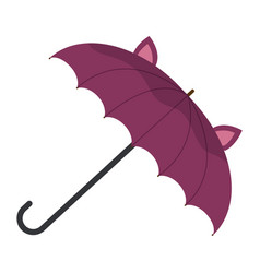 children s funny purple umbrella with ears funny vector image