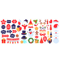 christmas photo booth props new year party vector image