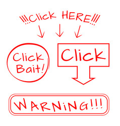 Click bait here warning vector
