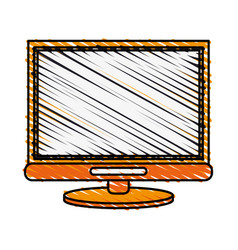 Color crayon stripe cartoon front view computer vector