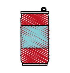 Color crayon stripe cartoon soda can of drinks vector