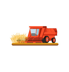Combine harvester working in field gathering wheat vector