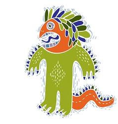 Comic character funny alien green monster vector image