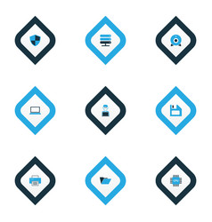 computer icons colored set with cpu shield man vector image