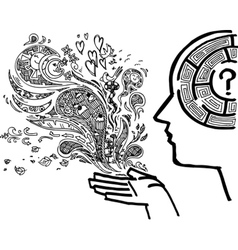 Concept image with man profile and maze brain vector image