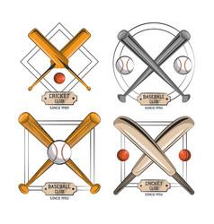 cricket and baseball emblems vector image