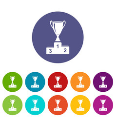 cup icons set color vector image