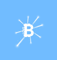 digital bitcoins symbol with light effect and vector image